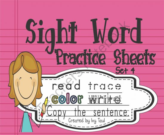 Sight Word Practice Sheets Read, Trace, Color, Copy, & Write - Fry Set 4 from Ivy Taul on TeachersNotebook.com -  (62 pages)  - This packet contains 50 pages of sight word practice sheets PLUS fun bookmarks, flashcards, and a recording sheet for you to record student progress. The packet covers words 51-100 from Fry's Second Hundred sight word list. You can see every word inc