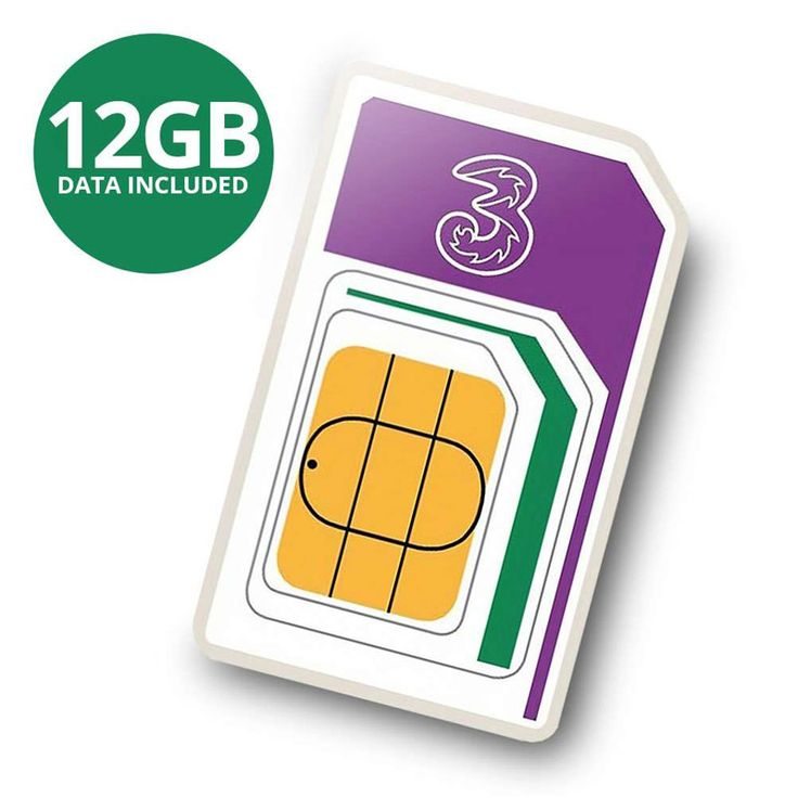 #3 PAYG 4G Trio SIM Pack Incl. 300 Mins 3000 #3 PAYG SIM Pack Preloaded with 300 minutes + 3000 texts + 12GB data which      is available to use for 30 days. Once you have used up your preloaded      bundle  top up and Pay As You Go.            Threes Pay As You Go Trio SIM has all SIM types on one card  so whether      you need a Standard  Micro or Nano SIM  you can just pop out the one you      need.            Sim comes with 12GB data preloaded for 3G or 4G phones  so you can so      you…