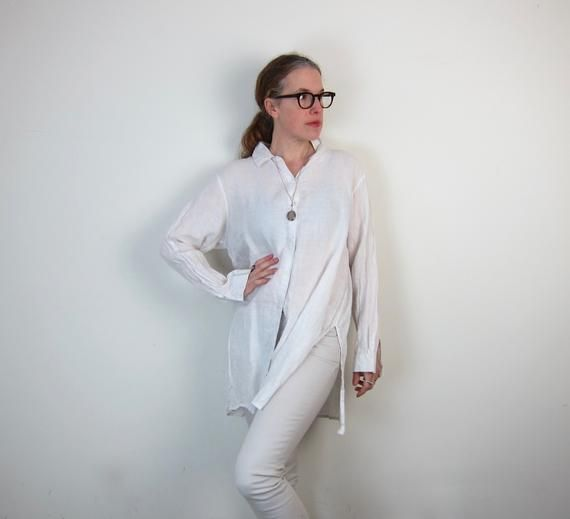White Linen Shirt Dress 90s Eileen Fisher Tunic Long Minimal White Shirtdress In 2020 White Linen Shirt Linen Shirt Dress Shirt Dress