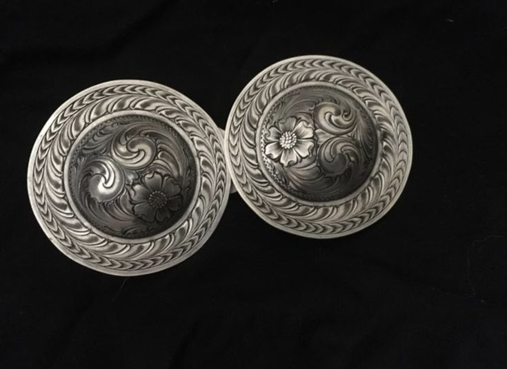 "2 1/2"" Casey Horg silver loopback conchos. Offered for auction 11/24/17-11/28/17 on our Facebook page: Outside Circle Fundraiser Auction."