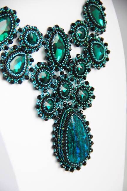 Bead embroidery necklace with fancy Stones by madebykim