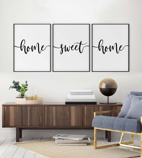 Home Sweet Home Set Of 3 Prints Living Family Room Printable Etsy Christian Decor Bible Verse Wall Art Family Living Rooms