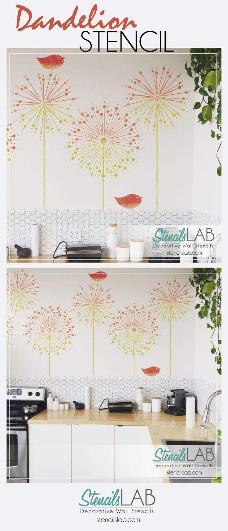 25 unique flower stencils ideas on pinterest flower silhouette dandelion wall stencil floral wall stencils dandelion bird stencil amipublicfo Choice Image