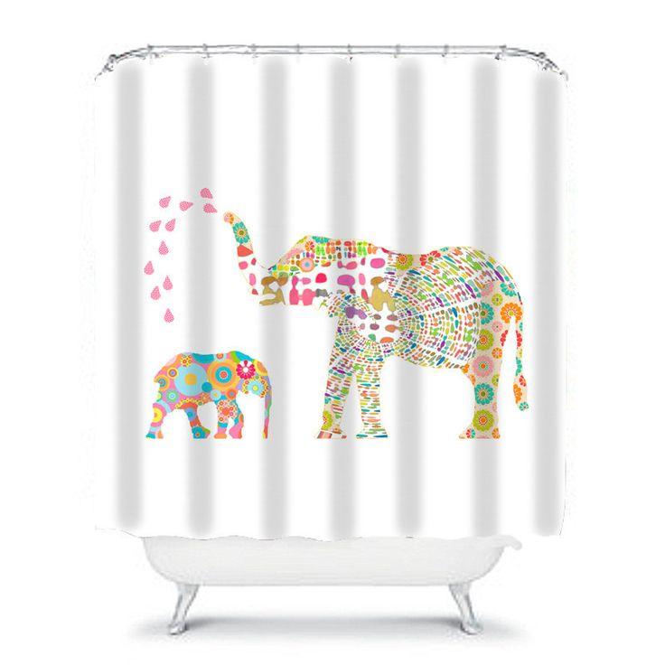Kids shower curtain elephant shower curtain elephant for Elephant bathroom accessories