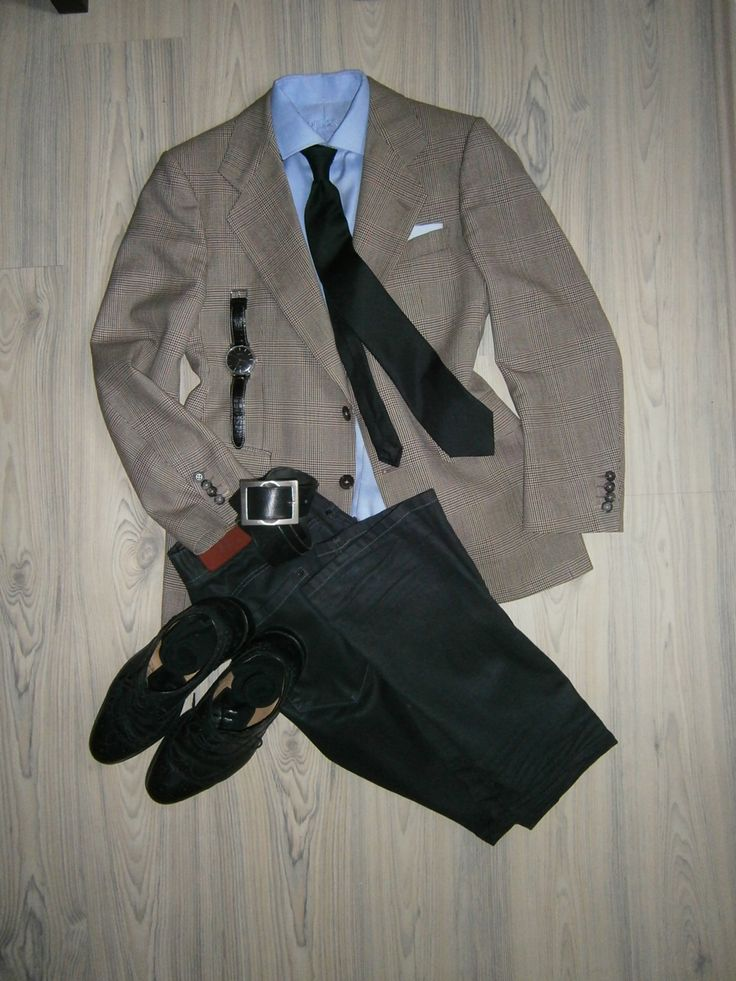 brown glencheck wool jacket / black jeans / light blue long arm shirt / navy blue silk tie / white hankerchief with light blue pattern / black oxfords full brogue / black leather belt / black socks / black silver watches