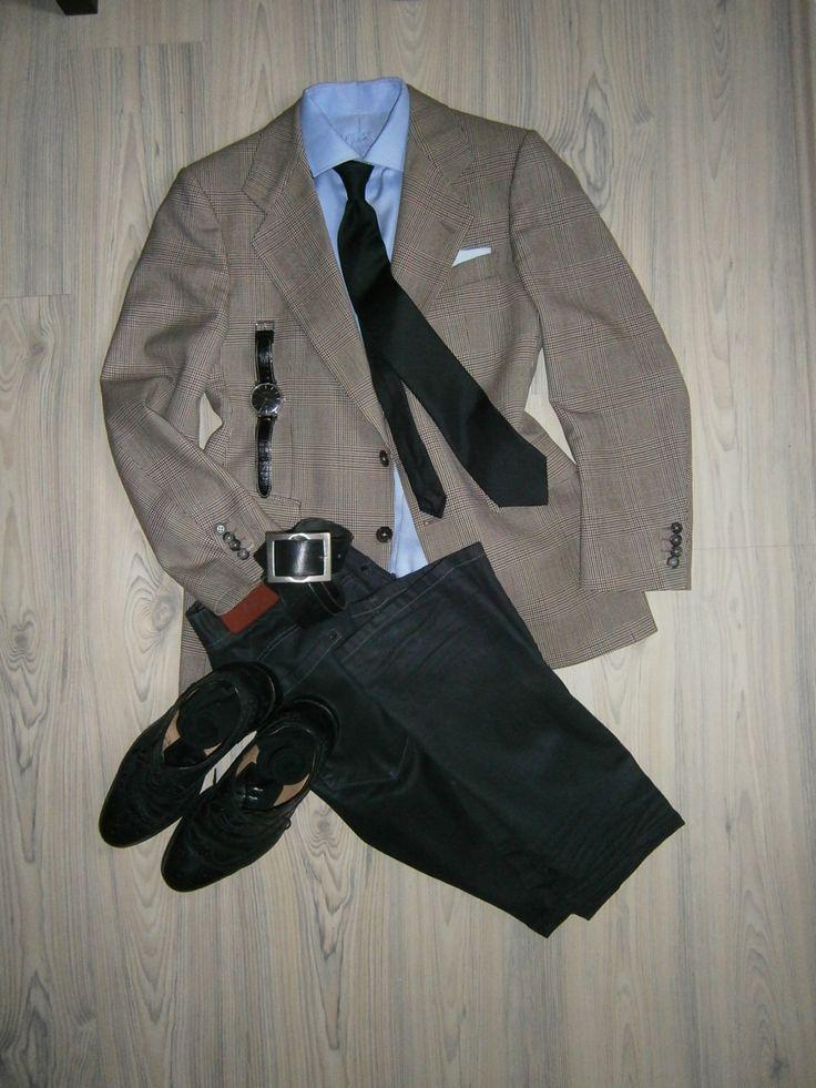 brown glencheck wool jacket / black jeans / light blue long arm shirt / navy blue silk tie / white hankerchief with light blue pattern / black oxfords full brogue / black leather belt / black socks / black silver watches