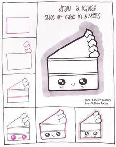 How to draw a kawaii piece of cake! Lol!