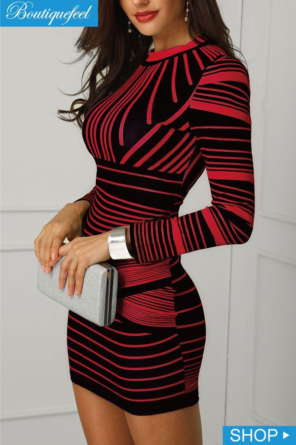 ... sexy women fashion at Boutiquefeel. Gradient Color Striped Bodycon Dress 93fdd55158eb