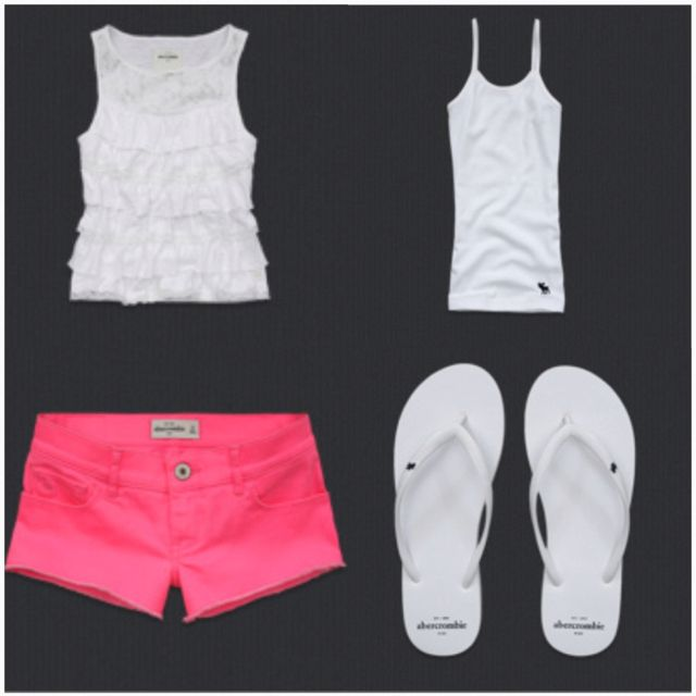 Abercrombie Kids outfit! I like how it is all white so the neon pink shorts will pOp!