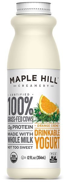 Maple Hill Creamery - 100% Grass-Fed Drinkable Orange Creme Yogurt. Made with whole milk, no fillers or artificial flavors.