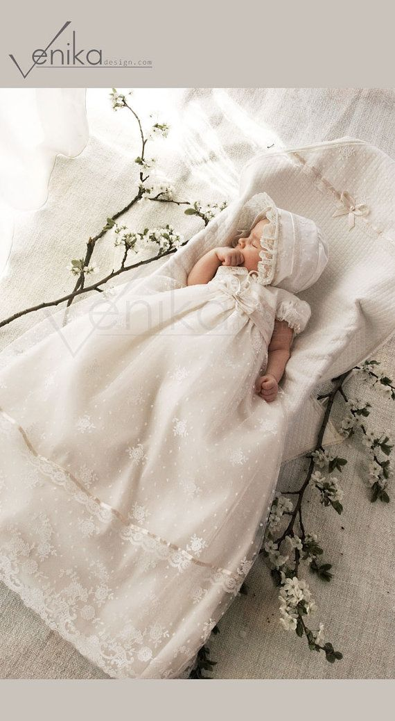 Lace tulle gown for the baptism or other ceremony in the color antique white and very delicate pink-wedding baby dress-birthday dress