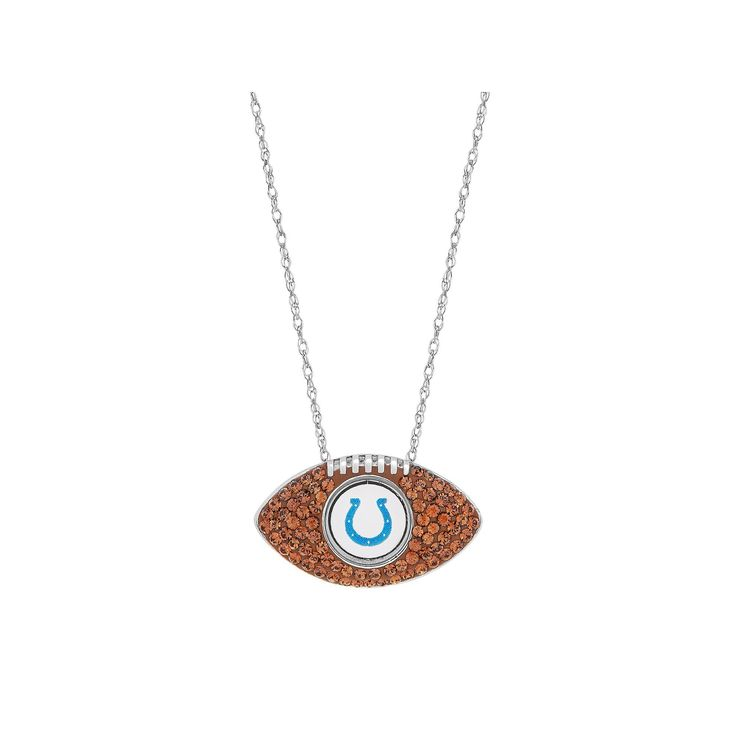Sterling Silver Crystal Indianapolis Colts Football Pendant, Women's, Brown