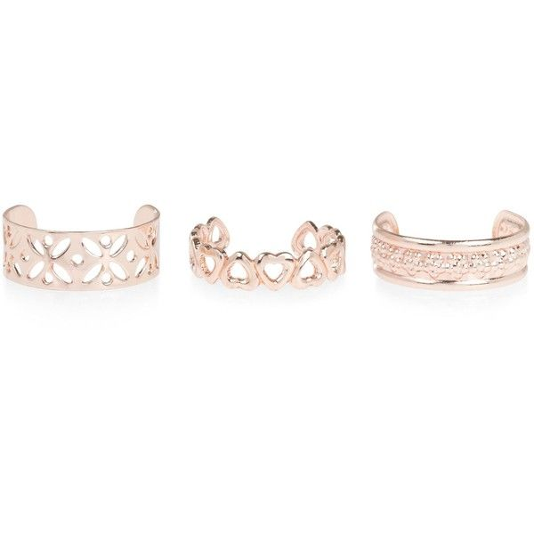 New Look 3 Pack Rose Gold Cut Out Toe Rings ($4.37) ❤ liked on Polyvore featuring jewelry, rings, pink, pink gold ring, cutout ring, pink jewelry, rose gold jewelry and red gold ring