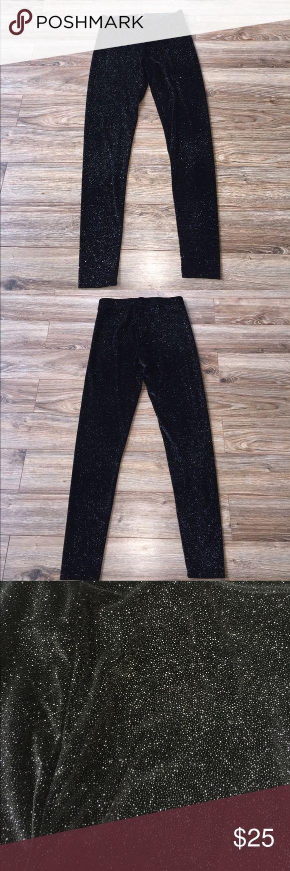 Black Velvet Sparkly Leggings Sparkly Velvet full length leggings. Like new!!!! PINK Victoria's Secret Pants Leggings