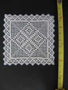 dollhouse miniature square silk crochet doily, table cover, IGMA artisan | eBay