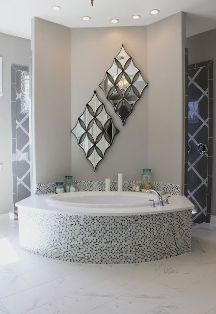 Beautiful model home tour. Large, master bathroom. soaking tub, and walk through shower. Formal beach theme. See the whole house at... TheRaggedWren.blogspot.com