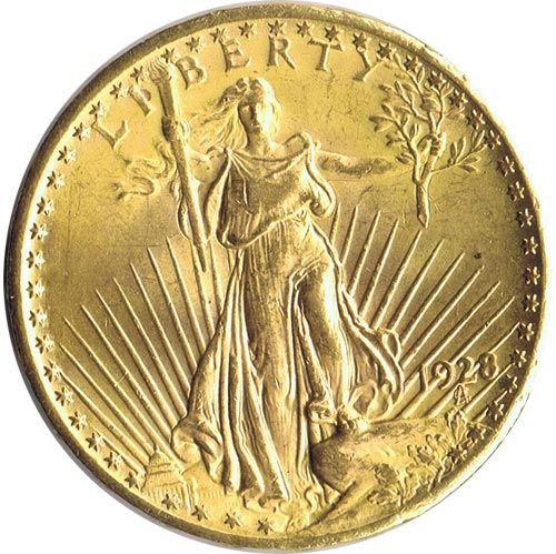 Moneda de oro 20 dolares Estados Unidos 1928.