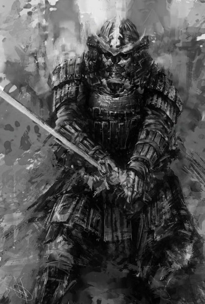 japanische krieger, tattoo vorlage, ausrüstung, katana, samuraischwert, helm