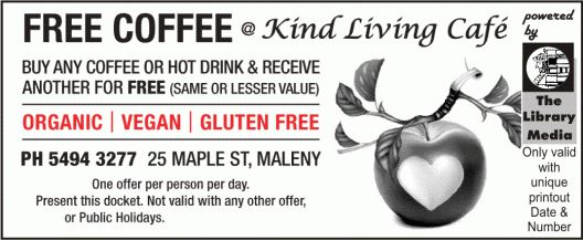 FREE Coffee Deal only @ Kind Living Cafe Maleny
