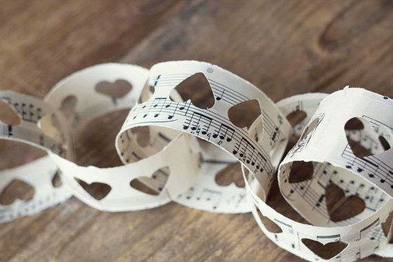 UK Handmade love heart paper cut vintage sheet music paper chain kit - wedding or party decoration