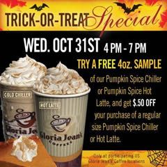 FREE 4 oz. Pumpkin Spice Chiller and Latte at Gloria Jean's on 11/31 on http://www.icravefreebies.com/