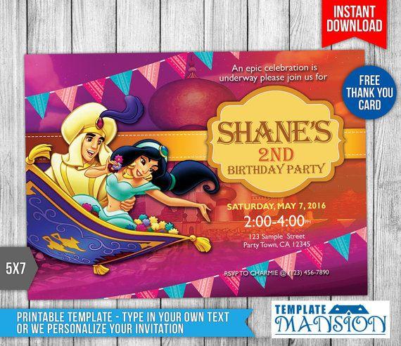 59 best birthday invitation printables images on pinterest princess jasmine invitation aladdin invitation by templatemansion filmwisefo Gallery