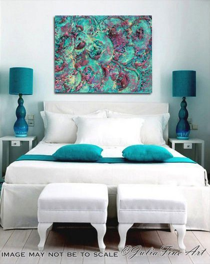 """TURQUOISE Abstract Painting Mixed Media Sculpture 48"""" Unique Texture Julia Fine Art Custom Order Turquoise Purple Modern Decor Colorful by JuliaFineArtGallery"""