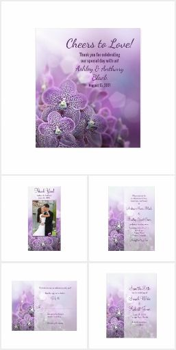 Purple Orchid Wedding Invitation Set