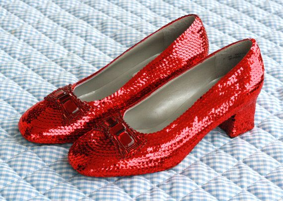 Classic Custom Sequin and Rhinestone Dorothy Ruby Red Slippers PERFECT for Wizard of Oz Weddings and Halloween Costume