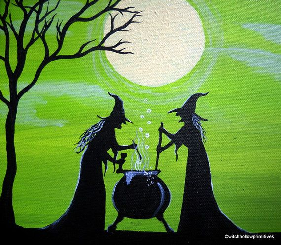 OOAK Primitive Witches Painting Witches Brew by WitchHollowPrims