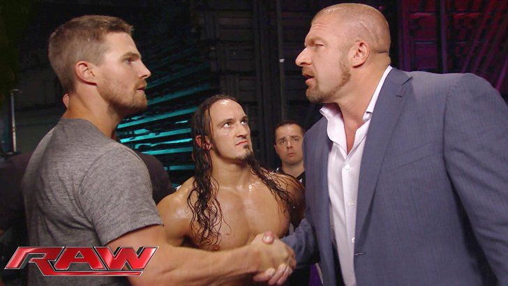 Pin for Later: Arrow's Stephen Amell Hopped in the Ring on WWE Raw and Here's What Happened Backstage, he requested a proper match at SummerSlam.