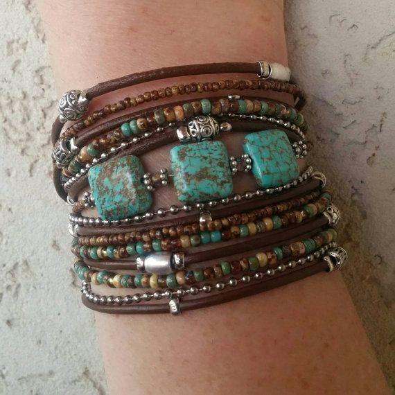 Boho Multi Strand Leather Wrap Bracelet Turquoise by DesignsbyNoa