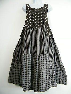 PLUS PLUS SIZE 100% LINEN SPOTTY/STRIPY/CHECK DESIGN LAGENLOOK DRESS SIZE 20-24