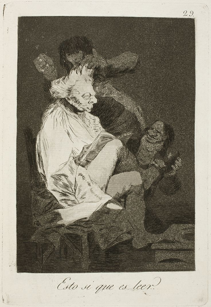 """Francisco de Goya: """"Esto si que es leer"""". Serie """"Los caprichos"""" [29]. Etching, aquatint and drypoint on paper, 214 x 146 mm, 1797-99. Museo Nacional del Prado, Madrid, Spain"""