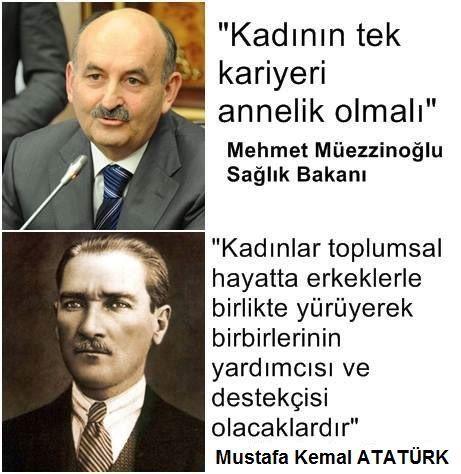 Dayima ileriyi gören Mustafa Kemal Atatürk Ve günümüzün bakanı he birde sağlık bakanıymış bu yobaz görüş ortada :/ karar yüce TÜRK MILLETINin..
