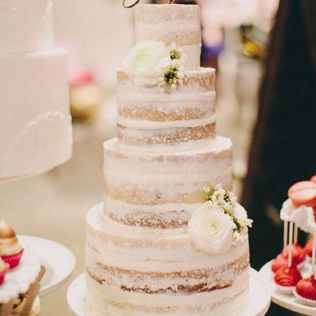 Beautiful wedding cake #nakedweddingcake #yum #wedding #cake #white