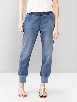 These are NOT sateen denim jogger pants! They are Grandma Pants!! GROSSSSSS