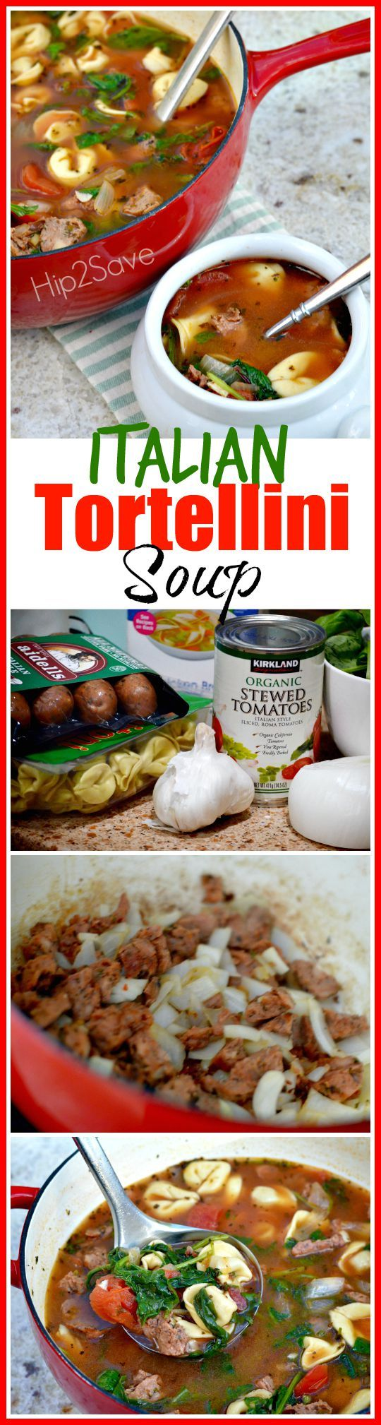 Italian Tortellini Soup (Easy to Make)  12 oz. Chicken Sausage, casings removed 1 – 9oz package store bought cheese Tortellini 1/2 medium onion, chopped 6 cloves garlic, diced 1 can stewed tomatoes, sliced, undrained 2 cans (14-1/2 ounces each) reduced-sodium chicken broth 1 and 3/4 cups water 6 oz. fresh spinach, coarsely chopped 1 teaspoon Italian Seasoning 1/4 teaspoon red pepper flakes salt & pepper to taste