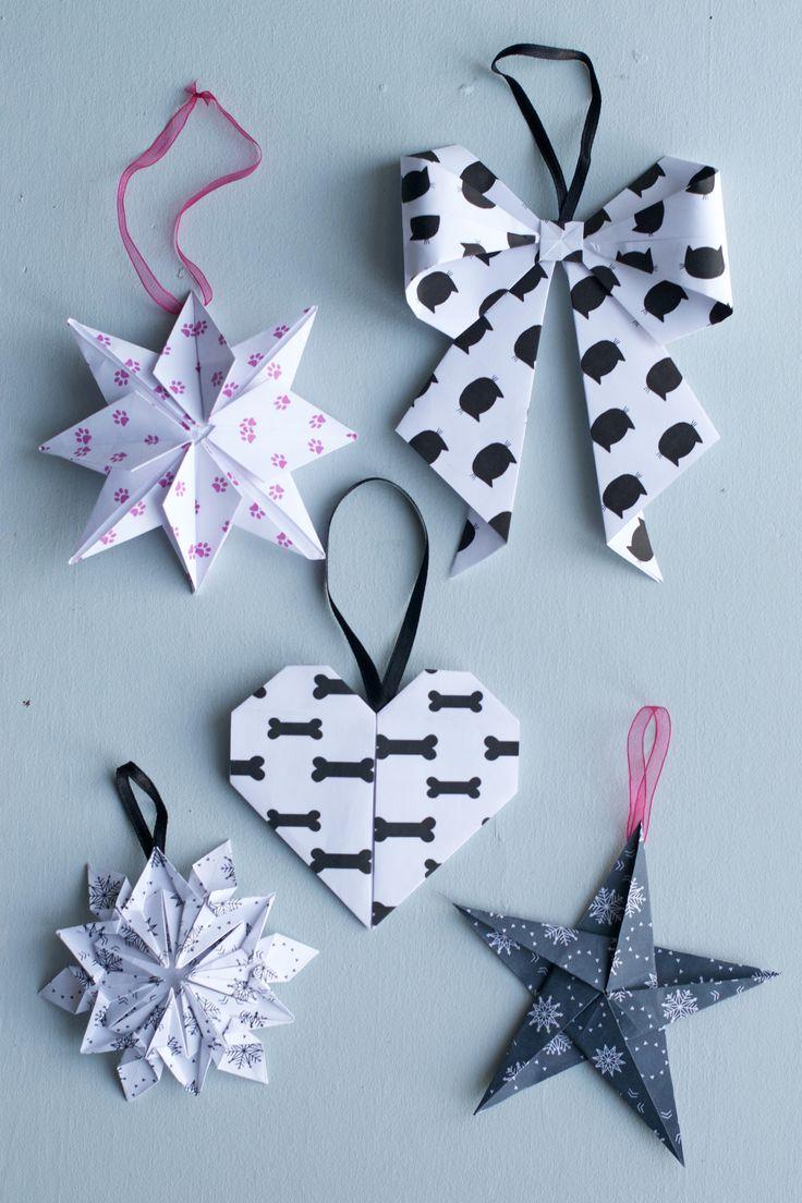 DIY Origami Paper Christmas Ornaments | HungryHeart.se