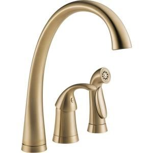 """So pretty!  Yet too expensive - and too tall (13"""" - window is 10.75"""" from sink).  Delta Pilar Waterfall Single-Handle Side Sprayer Kitchen Faucet in Champagne Bronze-4380-CZ-DST at The Home Depot"""