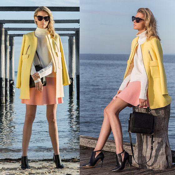 Karen Walker Glasses, Zara Yellow Coat, Kardashian Kollection Shoes, Kenzo Pink Skirt, Céline White Top