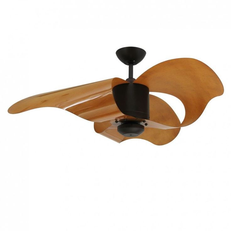 Unusual ceiling fan design featuring three modern blades with acrylic material