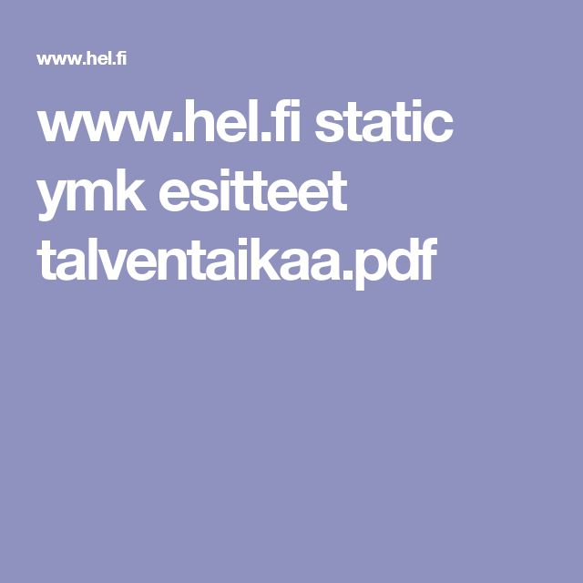 www.hel.fi static ymk esitteet talventaikaa.pdf
