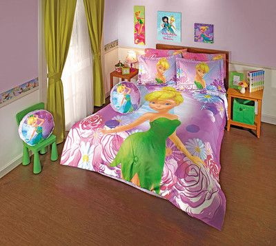 Tinkerbell dream comforter set full the girls room for Tinkerbell bedroom furniture