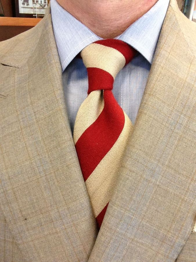 Sam Hober Tie Red And Light Brown Wool Stripe Tie Http