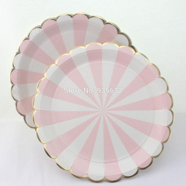Посуда розовые полосы карнавал единорог принцесса Бумажные Тарелки и золотой бумаги соломинки для Baby Shower День Рождения девушки День