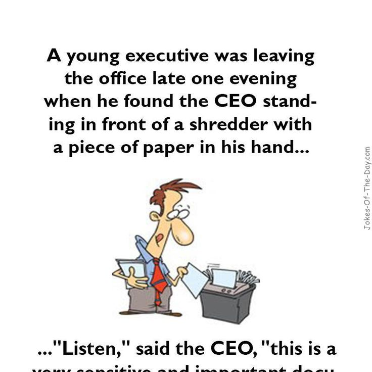 A young executive was leaving the office funny joke for Bureau humour