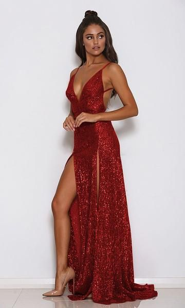 Mystery Girl Red Semi Sheer Sequin Spaghetti Strap Sleeveless Plunge ... 36f87b5b7522