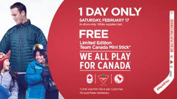FREE Team Canada Mini Stick at Canadian Tire on http://www.canadafreebies.ca/