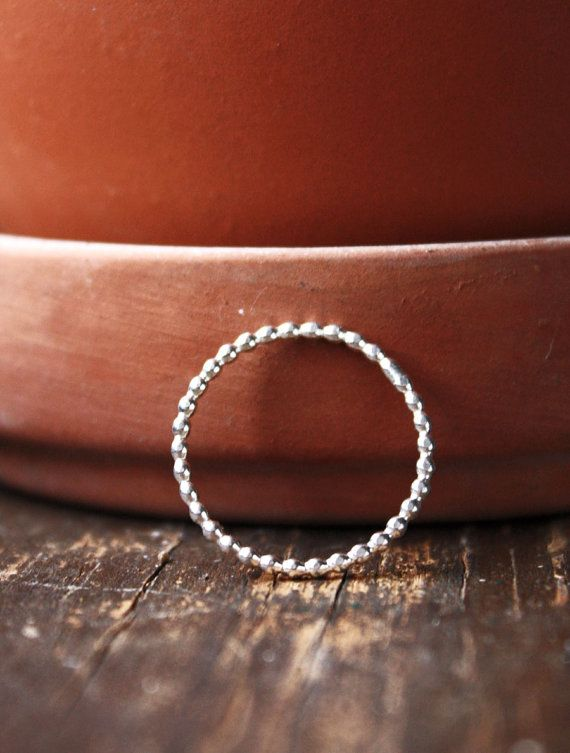 sterling silver ring beaded stacking ring single by ElisabethSpace